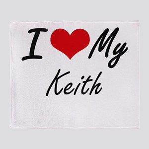 I Love My Keith Throw Blanket