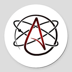 Modern Atheist Atomic Color Round Car Magnet