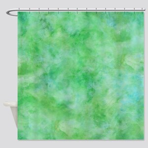 Bright Lime Green Watercolor Shower Curtain