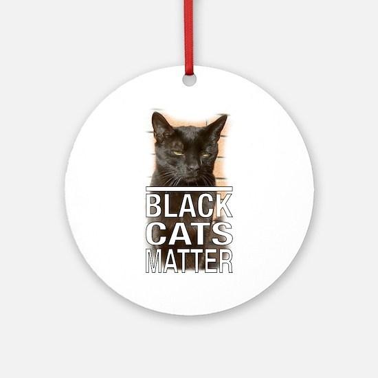 Black Cats Matter Round Ornament