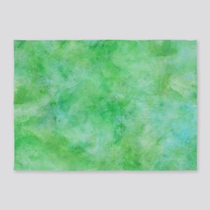 Bright Lime Green Watercolor 5'x7'Area Rug