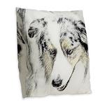 Australian Shepherd Burlap Throw Pillow