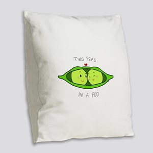 Two Peas in a Pod Burlap Throw Pillow