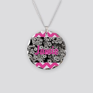 Chevron Flowers Personalize Necklace