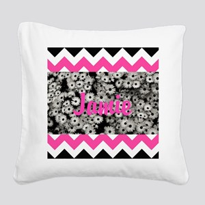 Chevron Flowers Personalize Square Canvas Pillow