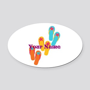 Personalized Flip Flops Oval Car Magnet