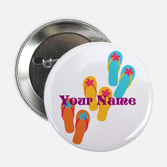 """Personalized Flip Flops 2.25"""" Button (10 pack)"""