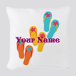 Personalized Flip Flops Woven Throw Pillow