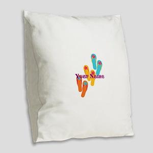 Personalized Flip Flops Burlap Throw Pillow