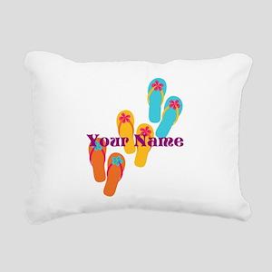 Personalized Flip Flops Rectangular Canvas Pillow