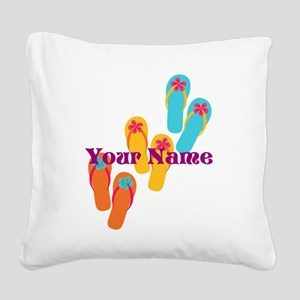 Personalized Flip Flops Square Canvas Pillow