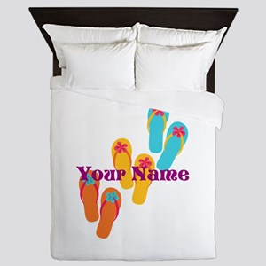 Personalized Flip Flops Queen Duvet