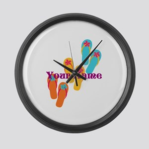 Personalized Flip Flops Large Wall Clock