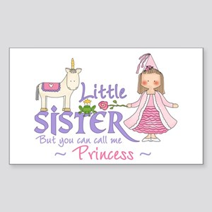 Unicorn Princess Little Sister Sticker (Rectangula