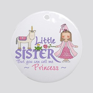 Unicorn Princess Little Sister Ornament (Round)