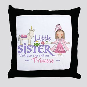 Unicorn Princess Little Sister Throw Pillow