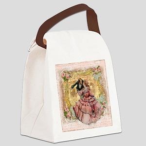 Versaille Pink Ruffles Canvas Lunch Bag