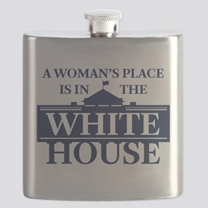 A Woman's Place is in the White House Flask