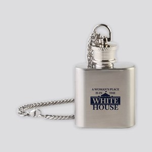 A Woman's Place is in the White Hou Flask Necklace