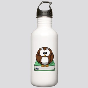 Owl on Green Book Stainless Water Bottle 1.0L
