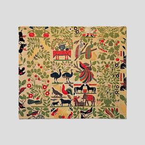 Vintage Birds Pattern Throw Blanket