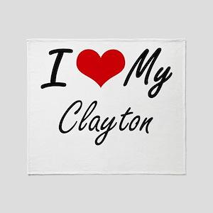 I Love My Clayton Throw Blanket