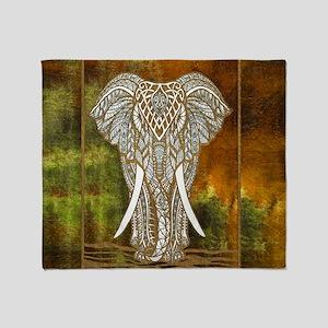 Gold Elephant Throw Blanket