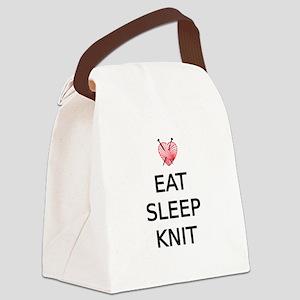 Eat, sleep, knit Canvas Lunch Bag