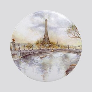Eiffel Tower Painting Round Ornament