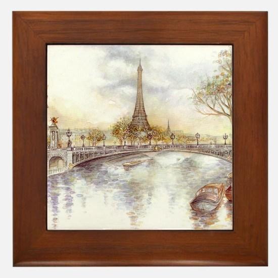Eiffel Tower Painting Framed Tile
