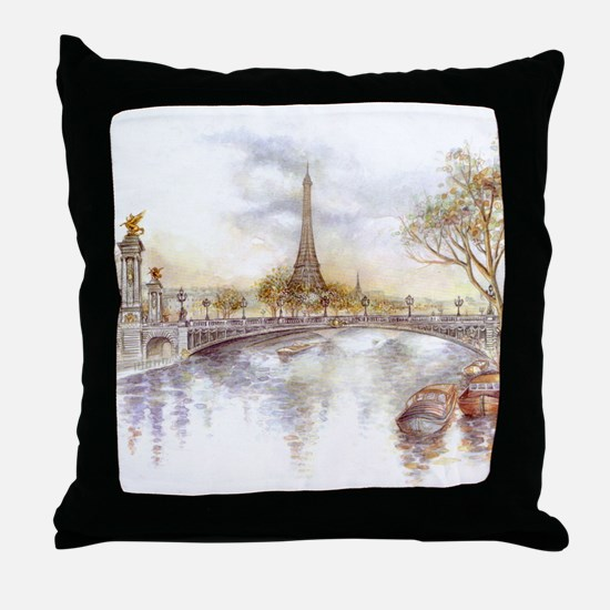 Eiffel Tower Painting Throw Pillow