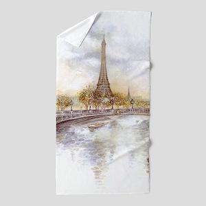 Eiffel Tower Painting Beach Towel