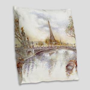 Eiffel Tower Painting Burlap Throw Pillow