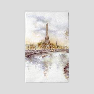 Eiffel Tower Painting Area Rug