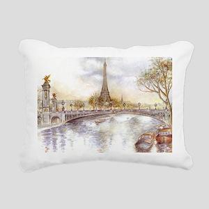 Eiffel Tower Painting Rectangular Canvas Pillow