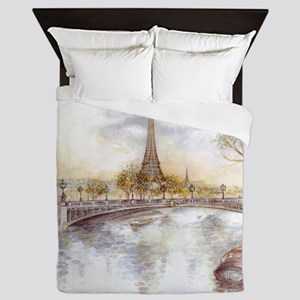 Eiffel Tower Painting Queen Duvet
