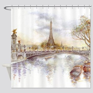 Eiffel Tower Painting Shower Curtain