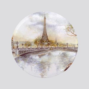 Eiffel Tower Painting Button