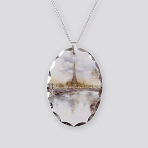Eiffel Tower Painting Necklace Oval Charm