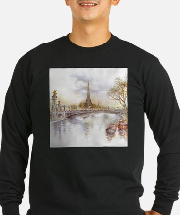 Eiffel Tower Painting Long Sleeve T-Shirt