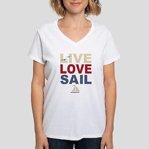 Live Love Sail Women's V-Neck T-Shirt