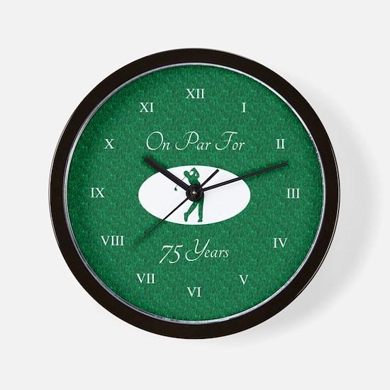 Golfer's 75th Birthday Wall Clock