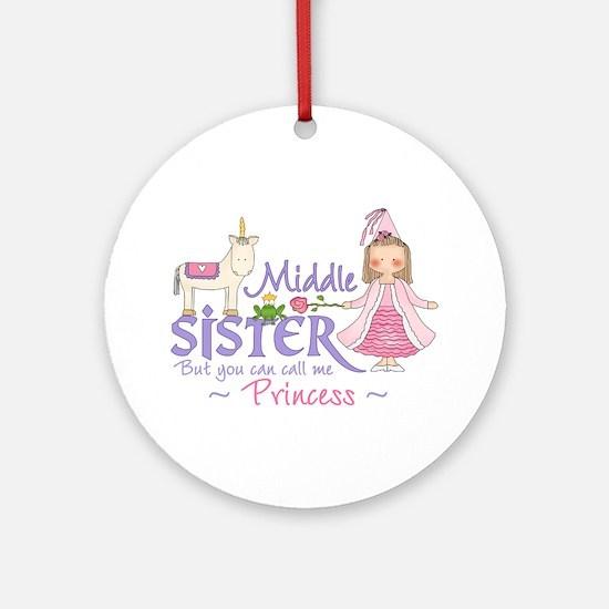 Unicorn Princess Middle Sister Ornament (Round)