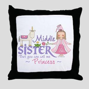 Unicorn Princess Middle Sister Throw Pillow