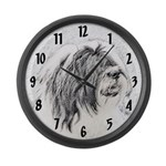 Bearded Collie Large Wall Clock