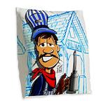 Vintage Engineers Burlap Throw Pillow