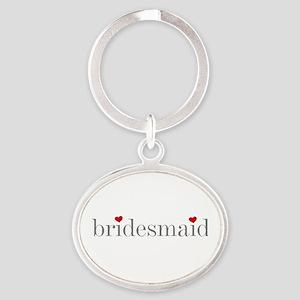 Gray Text Bridesmaid Oval Keychain