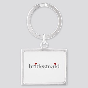 Gray Text Bridesmaid Landscape Keychain