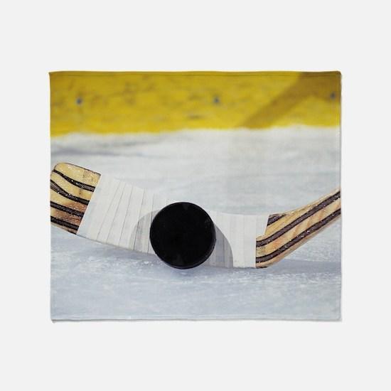 Funny Hockey puck Throw Blanket