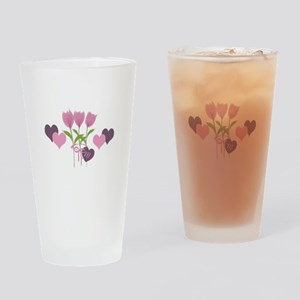 Cute Pink Tulips Drinking Glass